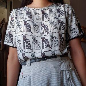cat print blouse
